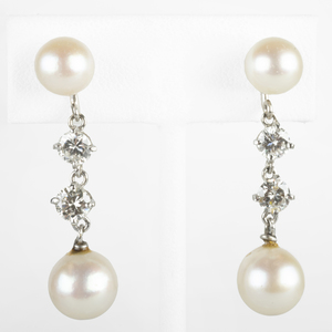 Platinum, Pearl and Diamond Drop Earrings