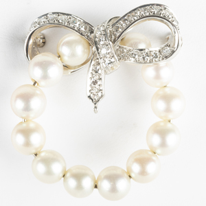 Platinum, Diamond and Cultured Pearl Circle Pin
