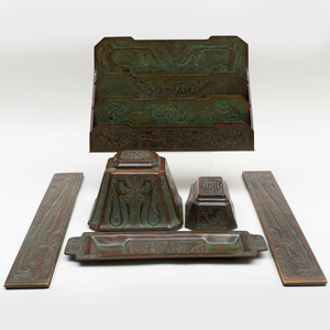 Tiffany Bronze Desk Set in the 'Chinese' Pattern