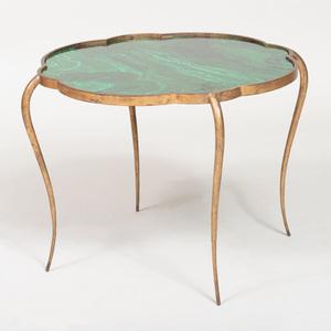 René Prou Gilt-Metal and Faux Malachite Painted Side Table