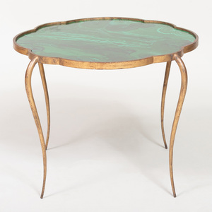 René Prou Gilt-Metal and Faux Malachite Painted Side Table