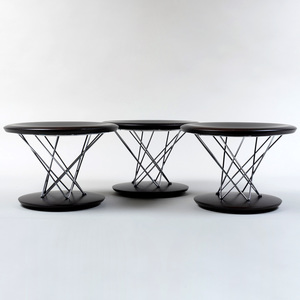 Three Vitra Noguchi Chrome and Ebonized Wood Rocking Stools