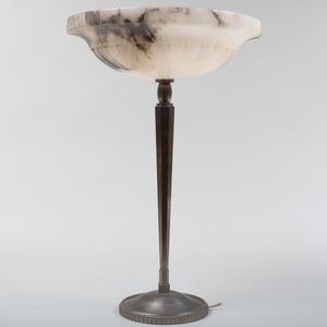 Art Deco Patinated Metal Lamp with Alabaster Shade