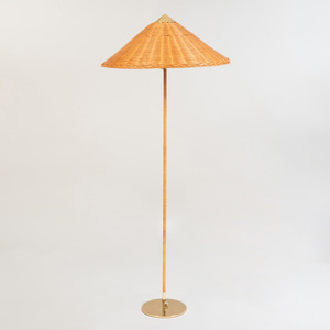 Paavo Tynell Floor Lamp with Wicker Shade, Model 9602, for Gubi