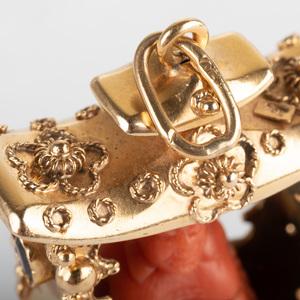 Italian 18k Gold, Coral and Garnet Buddha Pendant/Charm