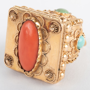 Italian 18k Gold, Coral and Turquoise Pendant/Charm