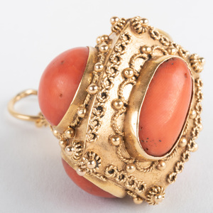 Italian 18k Gold and Coral Pendant/Charm
