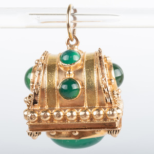 Italian 18k Gold and Green Chrysoprase Pendant/Charm