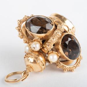 Italian 18k Gold, Brown Citrine Quartz and Cultured Peal Pendant/Charm