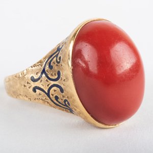 Italian 18k Gold and Ox Blood Coral Ring