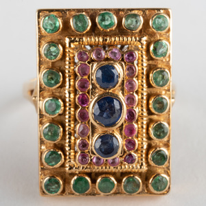 Ilias Lalaounis18k Gold, Sapphire, Ruby and Emerald Ring