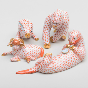 Group of Four Herend Porcelain Animals