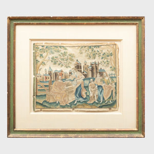 Charles II Needlework Panel, Depicting Christ and the Samaritan Woman at the Well
