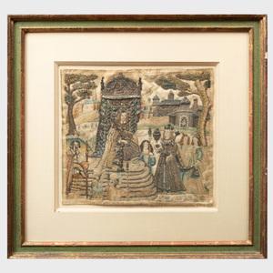 Charles II Silk and Metallic Thread Panel, Depicting Esther and Ahasuerus