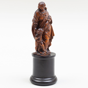 German or Flemish Baroque Carved Boxwood Figure of Madonna and Child