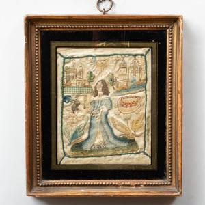 Charles II Needlework Figural Panel