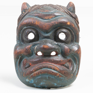 Japanese Carved and Painted Wood Oni Mask