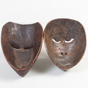 Two Indonesian Painted Wood Masks