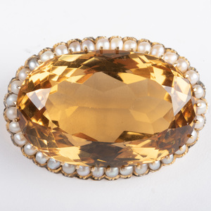Victorian 14k Gold, Citrine and Seed Pearl Brooch