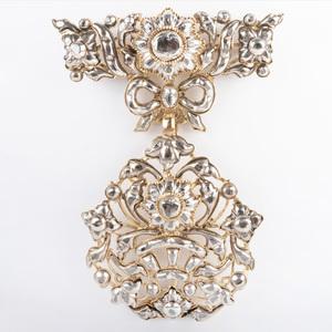 Silver-Gilt Diamond Brooch