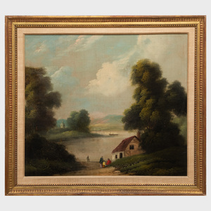 American School: River Landscape with Figures Beside a House