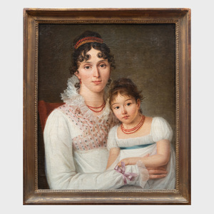 French School: Portrait of a Woman and Child