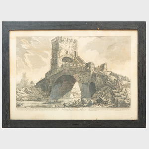 Giovanni Battista Piranesi (1720-1778): Veduto dell' Arco di Tito; Veduta dell'Anfiteatro Flavio; Veduta del Tempio di Giove Tonante; and Veduta del Ponte Salario