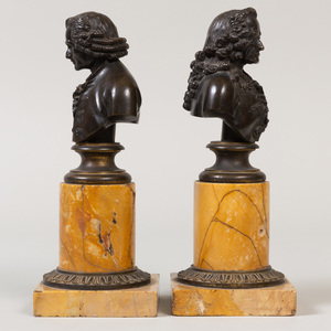 Pair of French Bronze and Siena Marble Portrait Busts of Voltaire and Rousseau