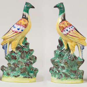 Pair of Staffordshire Pottery Models of Pheasants