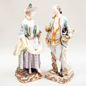 Large Pair of Meissen Figures of a Gardener and Companion