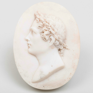 Italian White Marble Oval Plaque Commemorating Lord Byron (1788-1824)