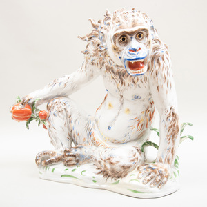 Large Aelteste Volkstedter Porzellanmanufaktur Porcelain model of a Waldmensch (Baboon)