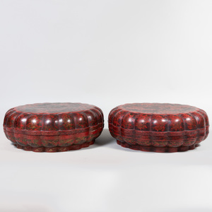 Pair of Large Chinese Red Lacquer and Parcel-Gilt Lobed Boxes