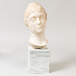 Roman Style White Marble Portrait Bust of a Woman, After the Antique