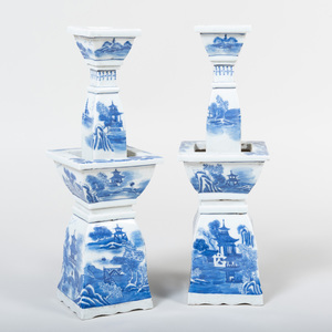 Pair of Chinese Blue and White Porcelain Tapering Candlesticks