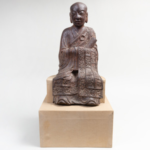 Chinese Cast Iron Figure of Lohan or Arhat