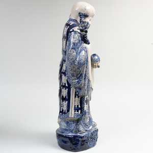 Chinese Blue and White Porcelain Figure of an Immortal