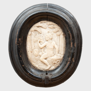 Continental Carved Oval Marble Plaque Depicting Africa