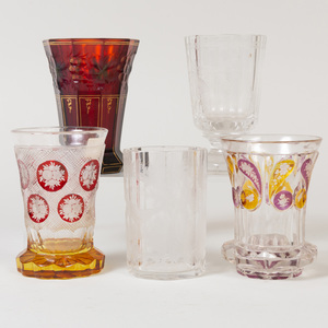 Group of Five Bohemian Cut, Etched and Cased Glasses