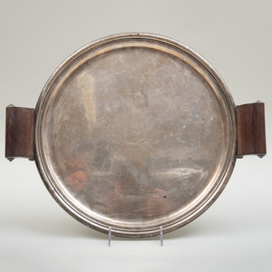 Mexican Silver Tray with Mahogany Handles