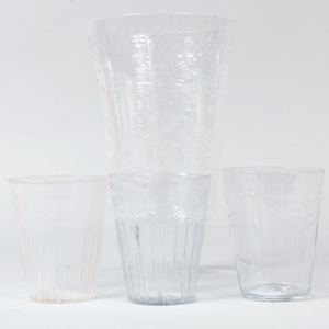 Four Engraved Soda Glass Beaker Vases, Probably Dutch or German