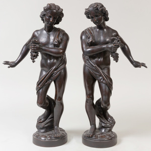 Pair of Italian Carved Wood Figures