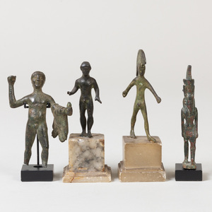 Group of Four Luristan and Egyptian Style Bronze Figures