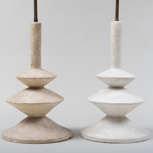 Pair of Modern Plaster Table Lamps, After a Design by Giacometti for Jean-Michel Frank