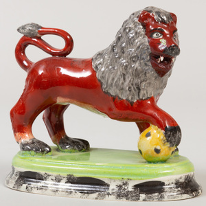 Staffordshire Pottery Model of a Red Lion