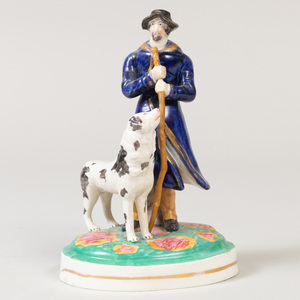 Staffordshire Pottery Model of a Shepherd and his Dog