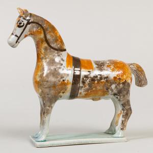 Prattware Pottery Model of a Horse