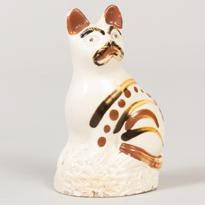 English Creamware Pottery Model of a Cat