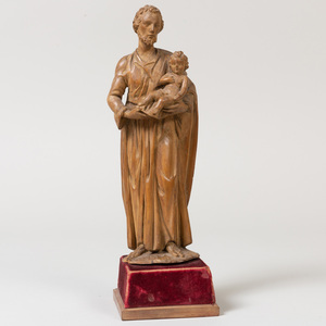 Italian Carved Wood Figure of Joseph and the Infant Christ