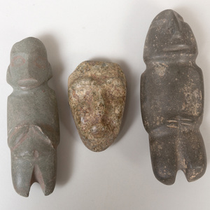 Two Mezcala Style Stone Figures and a Stone Mask